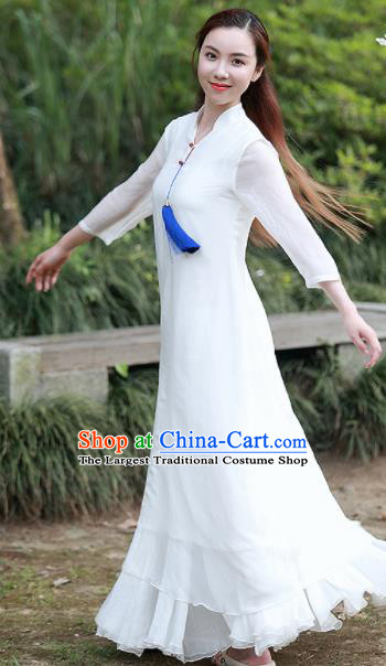 Chinese Traditional Tang Suit White Qipao Dress Classical Cheongsam Costume for Women