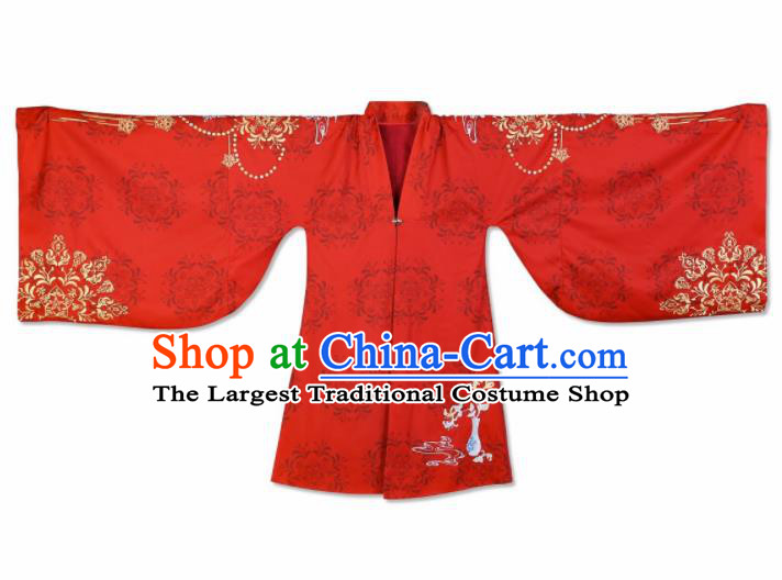 Traditional Chinese Ming Dynasty Royal Princess Red Embroidered Cloak Ancient Nobility Lady Replica Costume for Women