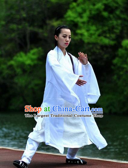 Chinese Traditional Wudang Taoist Nun Martial Arts White Outfits Kung Fu Tai Chi Costume for Women
