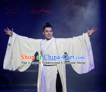 Chinese Drama Shang Yang Qin Dynasty Scholar White Clothing Stage Performance Dance Costume for Men