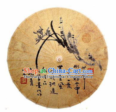 Chinese Handmade Ink Painting Orchid Oil Paper Umbrella Traditional Decoration Umbrellas