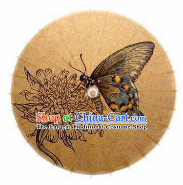 Chinese Handmade Ink Painting Chrysanthemum Butterfly Oil Paper Umbrella Traditional Decoration Umbrellas