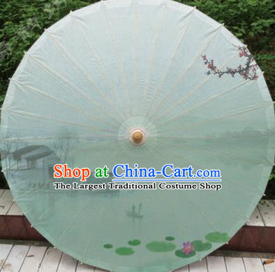 Chinese Classical Dance Ink Painting Lotus Handmade Light Green Paper Umbrella Traditional Decoration Umbrellas