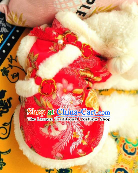 Traditional Asian Chinese Pets Clothing Dog Winter Red Cotton Padded Costumes for New Year