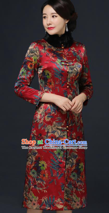 Traditional Chinese Printing Red Silk Winter Cheongsam Mother Tang Suit Qipao Dress for Women