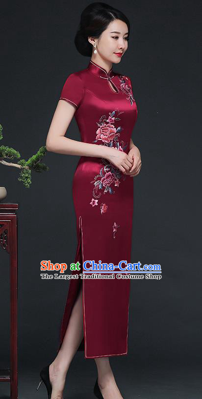 Traditional Chinese Embroidered Peony Wine Red Silk Cheongsam Mother Tang Suit Qipao Dress for Women