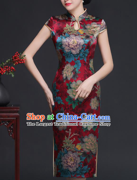 Traditional Chinese Printing Peony Red Silk Cheongsam Mother Tang Suit Qipao Dress for Women