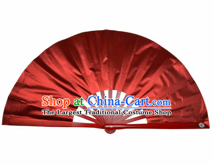 Chinese Handmade Martial Arts Red Silk Fans Accordion Fan Traditional Kung Fu Folding Fan