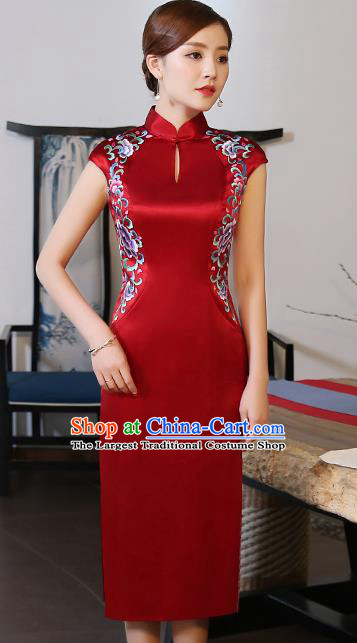 Traditional Chinese Embroidered Peony Red Silk Short Cheongsam Mother Tang Suit Qipao Dress for Women