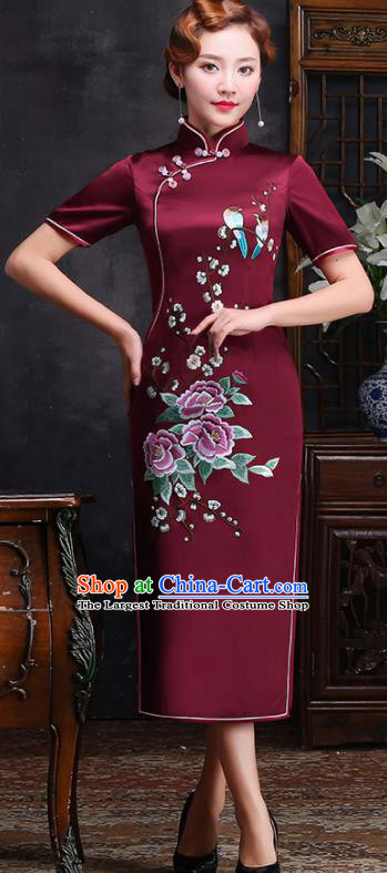 Traditional Chinese Embroidered Peony Plum Purplish Red Silk Cheongsam Mother Tang Suit Qipao Dress for Women
