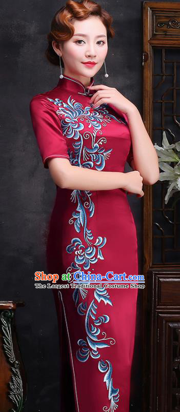 Traditional Chinese Printing Wine Red Silk Cheongsam Mother Tang Suit Qipao Dress for Women