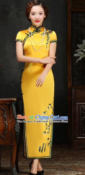 Traditional Chinese Embroidered Yellow Silk Cheongsam Mother Tang Suit Qipao Dress for Women