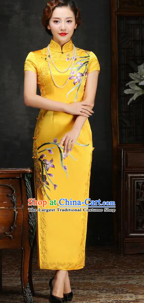Traditional Chinese Embroidered Orchid Yellow Silk Cheongsam Mother Tang Suit Qipao Dress for Women