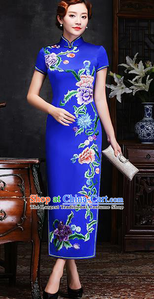 Traditional Chinese Embroidered Peony Royalblue Silk Cheongsam Mother Tang Suit Qipao Dress for Women