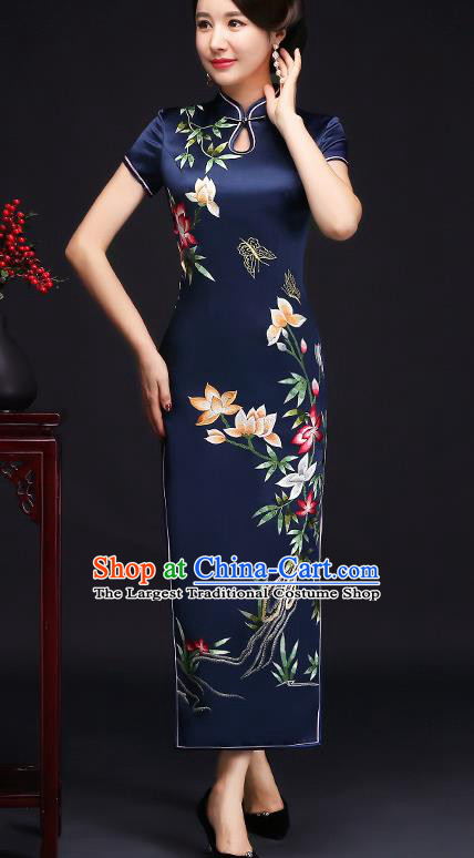 Traditional Chinese Embroidered Flowers Royalblue Silk Cheongsam Mother Tang Suit Qipao Dress for Women