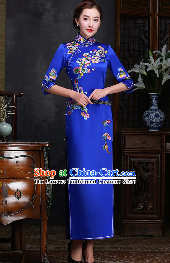 Traditional Chinese Embroidered Clouds Royalblue Silk Cheongsam Mother Tang Suit Qipao Dress for Women