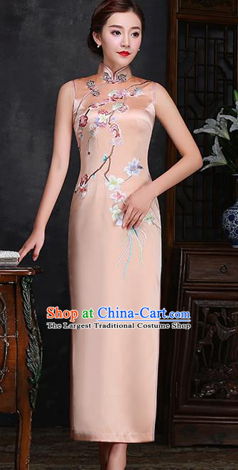 Traditional Chinese Embroidered Plum Champagne Silk Cheongsam Mother Tang Suit Qipao Dress for Women