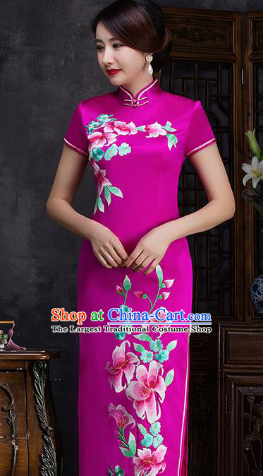 Traditional Chinese Embroidered Flowers Rosy Silk Cheongsam Mother Tang Suit Qipao Dress for Women