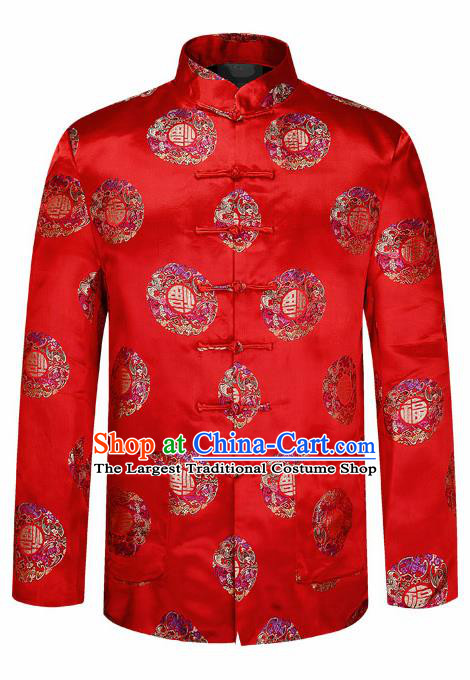 Traditional Chinese Red Brocade Cotton Padded Coat New Year Tang Suit Stand Collar Overcoat for Old Men