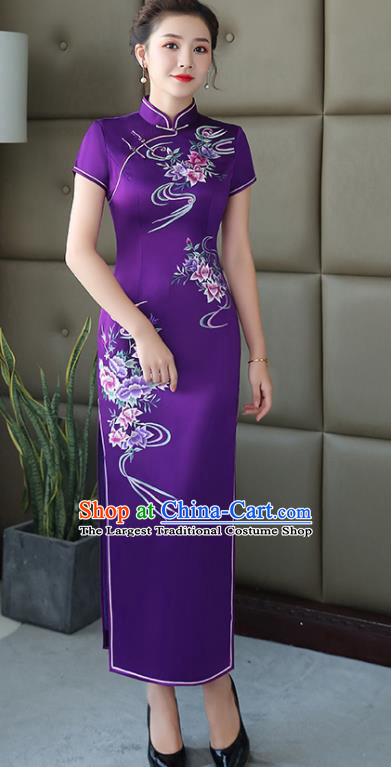 Traditional Chinese Embroidered Purple Silk Cheongsam Mother Tang Suit Qipao Dress for Women