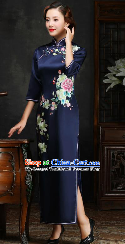 Traditional Chinese Embroidered Peony Navy Silk Cheongsam Mother Tang Suit Qipao Dress for Women