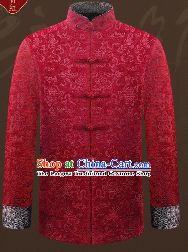 Traditional Chinese Wine Red Velvet Cotton Wadded Jacket New Year Tang Suit Overcoat for Old Men