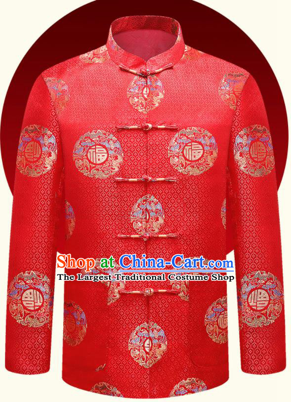 Traditional Chinese Lucky Pattern Red Brocade Cotton Wadded Jacket New Year Tang Suit Overcoat for Old Men
