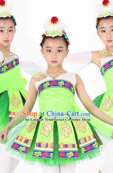 Traditional Chinese Child Mongol Nationality Green Dress Ethnic Minority Folk Dance Costume for Kids