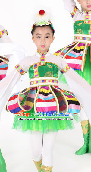 Traditional Chinese Child Tibetan Nationality Green Dress Ethnic Minority Folk Dance Costume for Kids