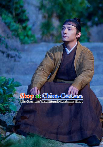 Chinese Ancient Swordsman Brown Clothing Drama Love and Destiny Jiu Chen Chang Chen Costumes for Men