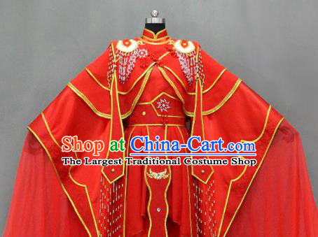 Traditional Chinese Cosplay Empress Red Dress Ancient Drama Female Swordsman Costumes for Women