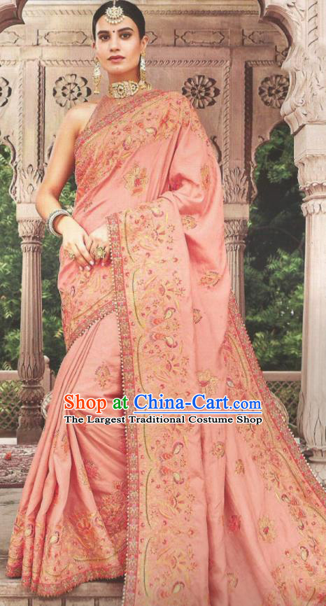 Asian Indian Court Pink Art Silk Embroidered Sari Dress India Traditional Bollywood Princess Costumes for Women