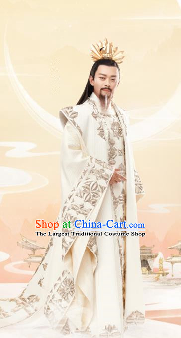 Chinese Ancient God King Drama Love and Destiny Heavenly Emperor Replica Costumes and Headpiece for Men