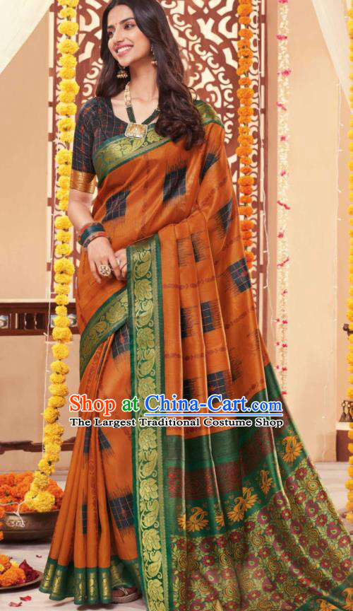 Asian Traditional Indian National Printing Orange Cotton Sari Dress India Lehenga Bollywood Costumes for Women