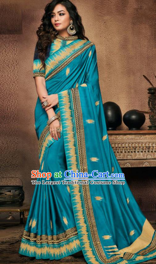 Indian Traditional Court Bollywood Blue Satin Sari Dress Asian India National Festival Costumes for Women