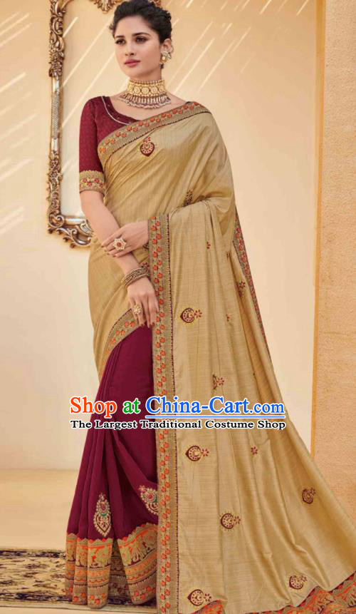 Traditional Indian Saree Wine Red and Ginger Silk Sari Dress Asian India National Festival Bollywood Costumes for Women