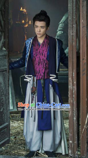 Young Blood Ancient Chinese Drama Song Dynasty Swordsman Yuan Zhongxin Costumes for Men