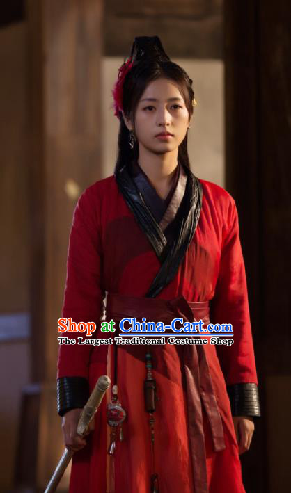 Drama Young Blood Ancient Chinese Song Dynasty Princess Female Swordsman Zhao Jian Red Costumes for Women