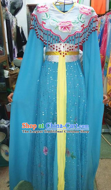 Chinese Traditional Beijing Opera Diva Costume Peking Opera Young Lady Blue Dress for Adults