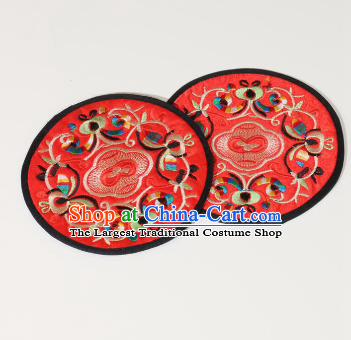 Chinese Traditional Household Accessories Classical Embroidered Red Brocade Teacup Mat