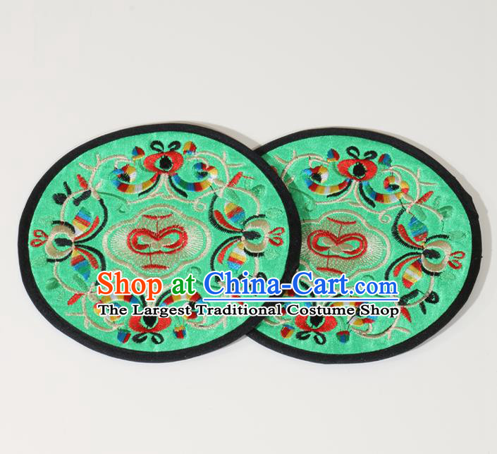 Chinese Traditional Household Accessories Classical Embroidered Green Brocade Teacup Mat