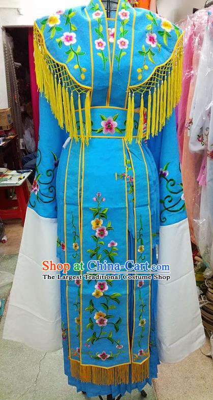 Chinese Traditional Beijing Opera Young Lady Costume Peking Opera Diva Blue Dress for Adults