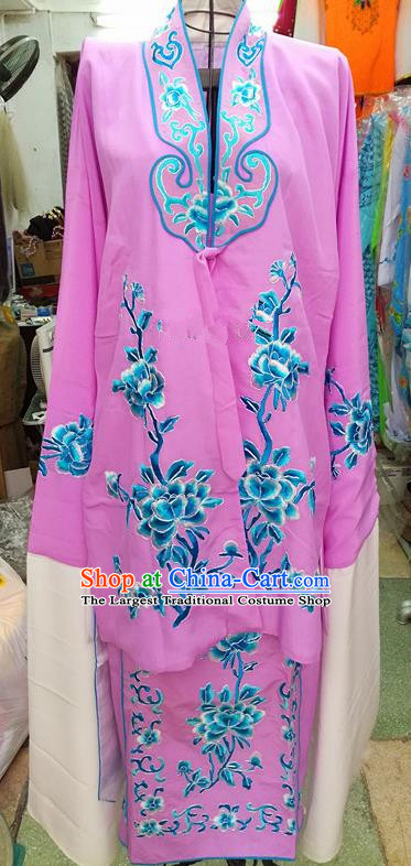 Chinese Traditional Beijing Opera Tsingyi Costume Peking Opera Actress Embroidered Peony Lilac Dress for Adults