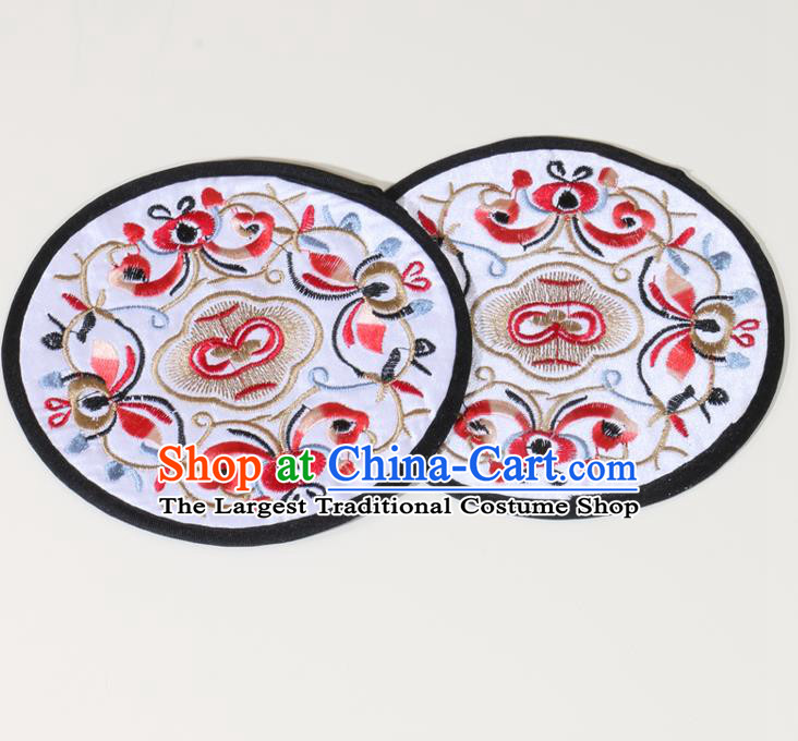 Chinese Traditional Household Accessories Classical Embroidered White Brocade Teacup Mat