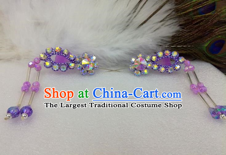 Chinese Traditional Beijing Opera Actress Hair Accessories Ancient Princess Purple Hairpins for Adults