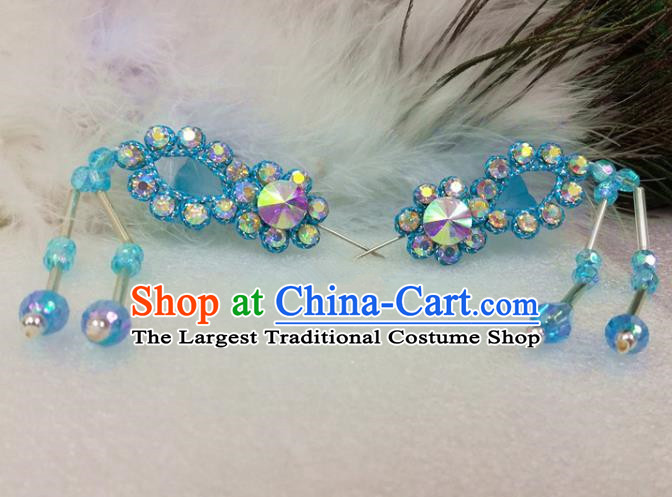 Chinese Traditional Beijing Opera Actress Hair Accessories Ancient Princess Blue Hairpins for Adults