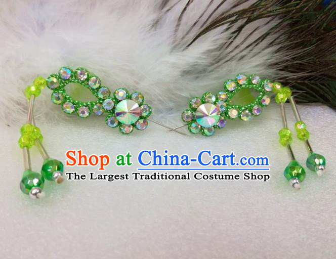 Chinese Traditional Beijing Opera Actress Hair Accessories Ancient Princess Green Hairpins for Adults