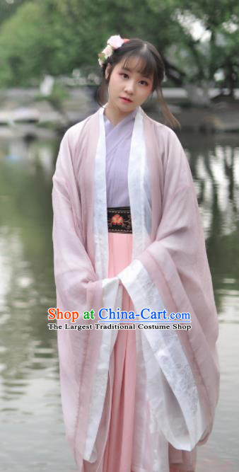 Chinese Ancient Princess Pink Hanfu Dress Jin Dynasty Young Lady Historical Costume Complete Set for Women