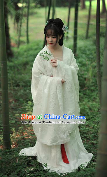 Chinese Ancient Peri White Hanfu Dress Tang Dynasty Imperial Concubine Historical Costume Complete Set for Women