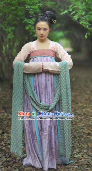 Chinese Ancient Court Maid Hanfu Dress Tang Dynasty Palace Lady Historical Costume for Women